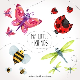 Watercolor set of cute insects