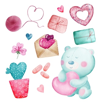 Watercolor set of cute romantic stickers for valentine day