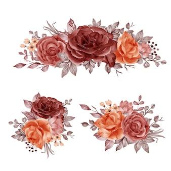 秋の秋のバラと葉のフラワーアレンジメントの水彩セット