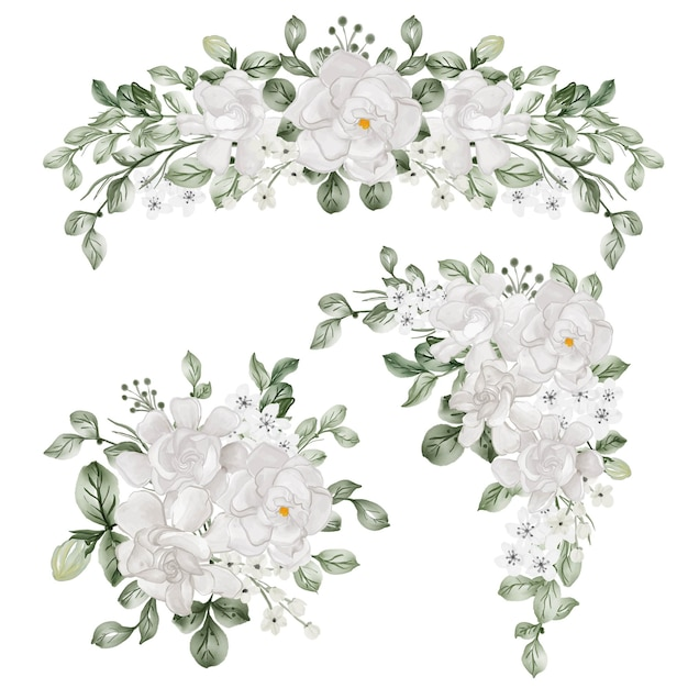 치자나무 흰 꽃과 꽃꽂이의 수채화 세트