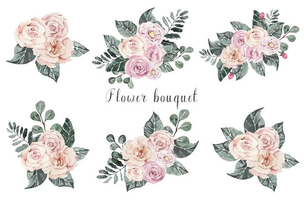 ピンクのバラの花の花束の水彩セット
