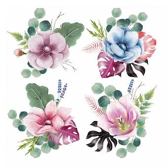 꽃 장식의 수채화 세트