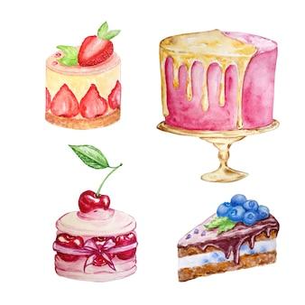 손으로 그린 흰색 배경에 다른 모양과 다른 색상의 4 개의 케이크의 수채화 세트