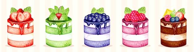 Акварельный набор фруктового торта