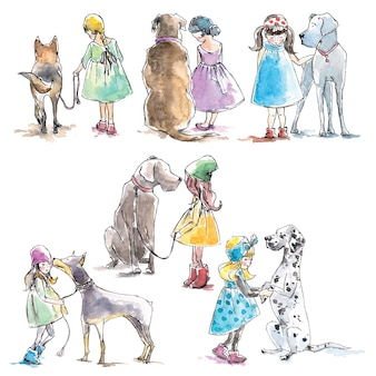 Watercolor set of girls and dogs