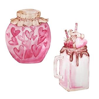 Акварельный набор рисованной десертов, банка с сердечками и кружка со сладостями изолированы