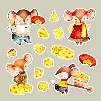 마우스와 치즈 스티커의 수채화 세트