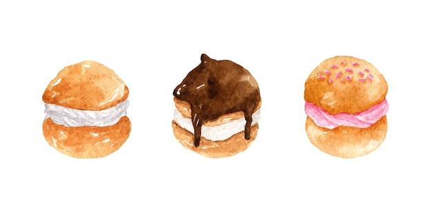 커스터드 바닐라 스트로베리 초콜릿 디저트를 곁들인 수채색 프로페테롤 세트