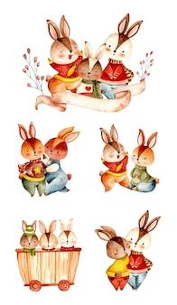 ウサギの家族の水彩セット