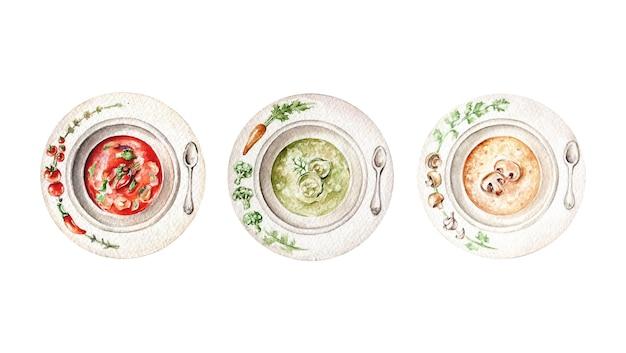 Акварельный набор супов