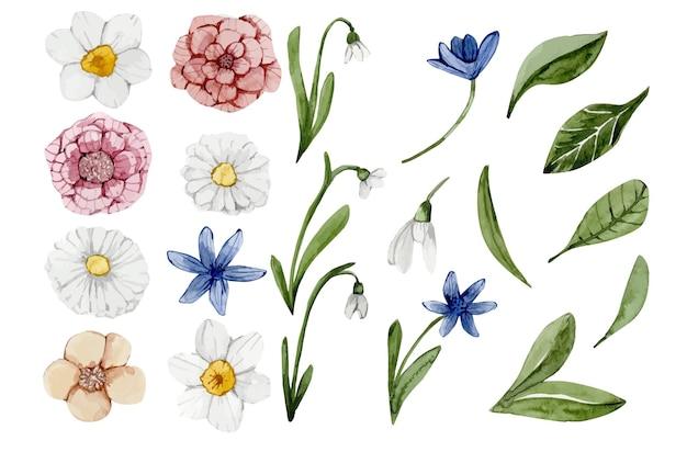 봄 꽃 손으로 그린 수채화 세트