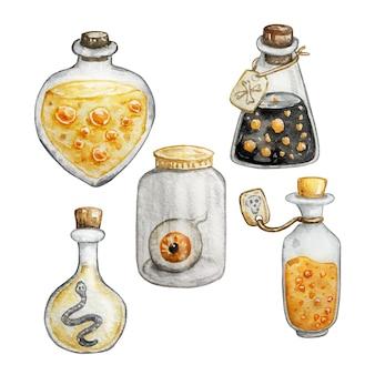 Акварельный набор старинных бутылок с жидкостью и бутылкой с глазком. нарисованная рукой волшебная иллюстрация изолирована на белой предпосылке. элемент истории хэллоуина