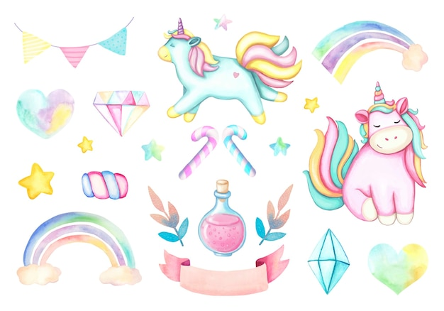 Watercolor set of pink cartoon unicorn, rainbows, crystals, pink ribbon, yellow and pink stars