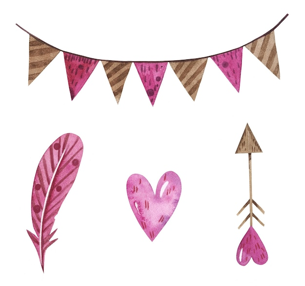 Watercolor set for saint valentine's day with a feather