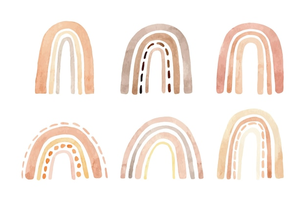 Watercolor set of simple cute rainbows in pastel colors with various designs.