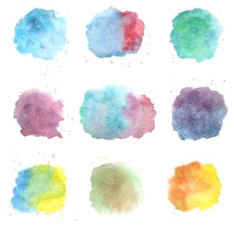 白い背景に水彩セットスプラッシュ。ベクトル分離された概念の創造的なイラスト。ピンク、赤、黄、青、緑の色。