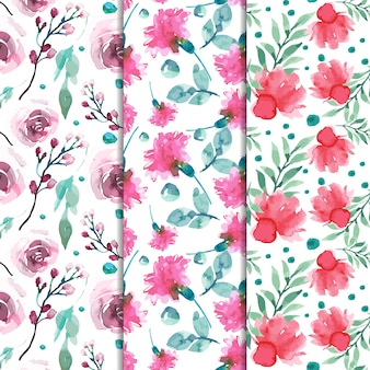 Watercolor set of spring patterns