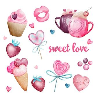 Watercolor set of sweet valentine love elements