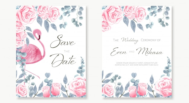 Watercolor set of wedding card in  of flamingo in amont the pink roses garden.