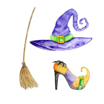 Watercolor set of witch accessories purple hat shoe and broom