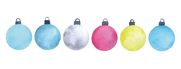 Watercolor set with abstract christmas balls christmas tree toys of bright colors