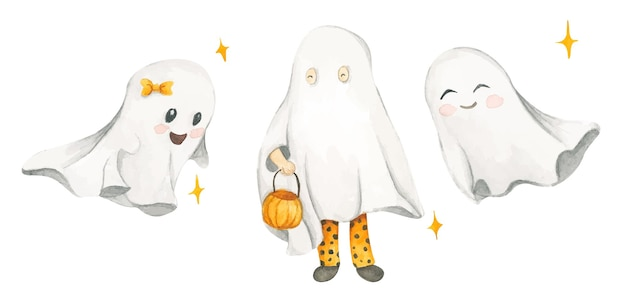Watercolor set with cute ghosts halloween costumes trick or treat
