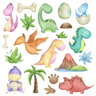 Watercolor set with dinosaurs and design elements