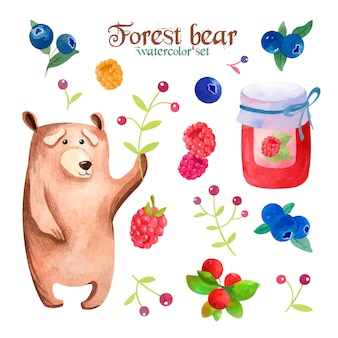 Watercolor set with forest brown bear and tasty berries