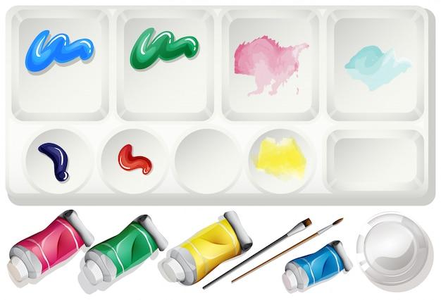 水彩絵の具とブラシで設定