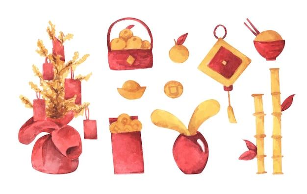 전통적인 중국 장식으로 설정하는 수채화. 빨간색과 노란색 컬렉션.