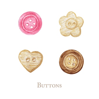 Watercolor sewing buttons. sewing kit, wooden accessories and equipment for sewing. closeup isolated on white background set. hand painted