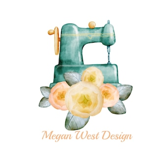Watercolor sewing logo design