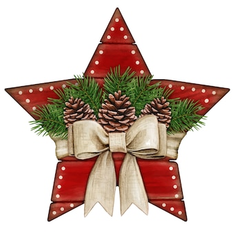 Watercolor shabby chic rustic red wooden star tag with bow and pinecones