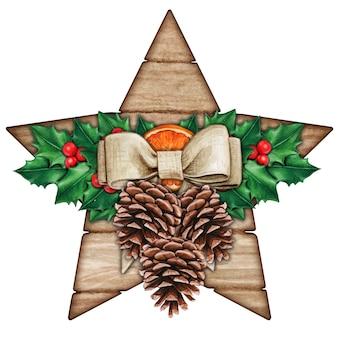 Акварель шебби шик деревенская звезда с падубом и шишками