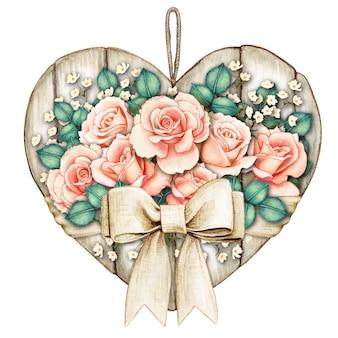 桃のバラと水彩のぼろぼろのシックな素朴な白い木製のハートタグ