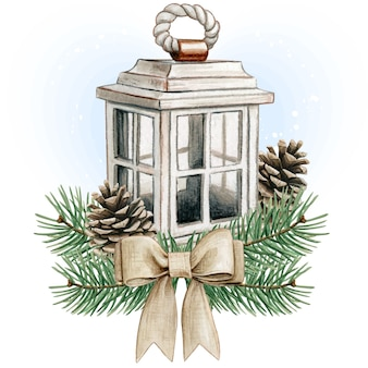 Watercolor shabby chic wooden lantern with pinecones and jute bow