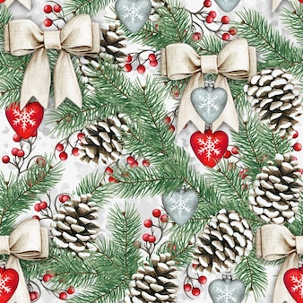 Watercolor shabby seamless pattern with pinecones bows and hearts