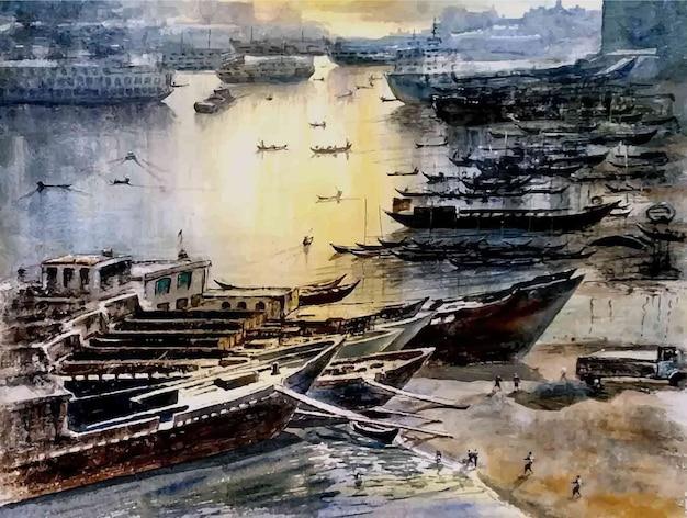 Акварель корабль на берегу моря рисованной иллюстрации