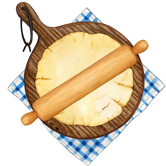 Watercolor shortcrust pastry making with rolling pin, big round board and gingham tablecloth