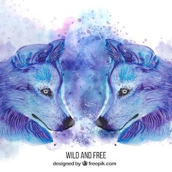 Watercolor sideways wolves faces