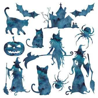 Watercolor silhouette with blue galaxy halloween icon isolated on the white background