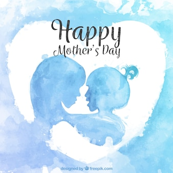 Watercolor silhouettes background of mother and daughter