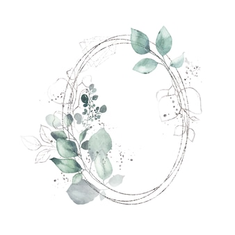 Watercolor silver geometrical round oval frame with green leaves