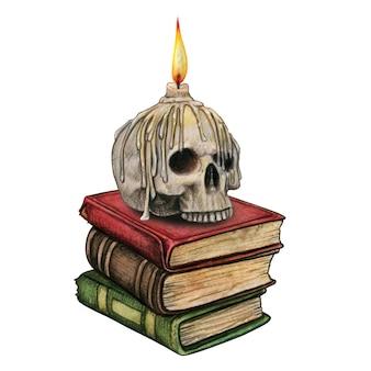 책 더미에 녹은 촛불이 있는 수채화 해골