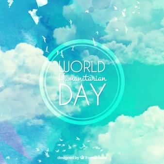 세계 인도주의 날의 수채화 하늘 배경