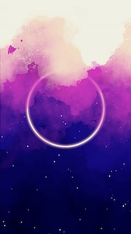 Watercolor sky background with circle