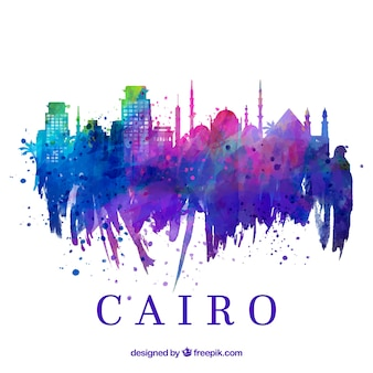 Watercolor skyline of cairo, egypt