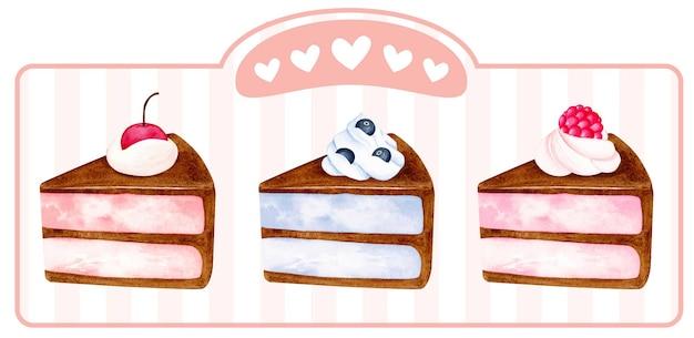 Набор акварельных кусочков торта