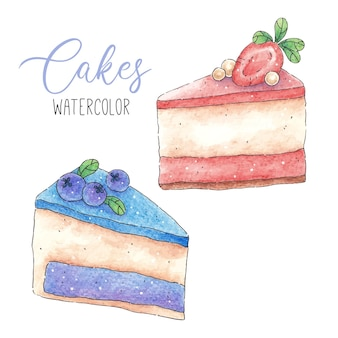 Watercolor slices of cakes with strawberries and blueberries