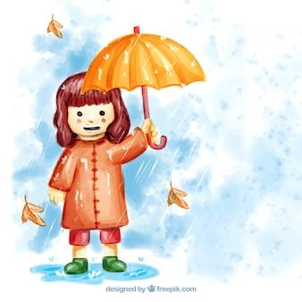 Watercolor smiley girl with umbrella